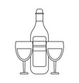 wine bottle with cups black and white vector image vector image