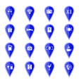 set of blue map pointers with hotel services icons vector image