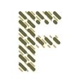 Striped latin alphabet letter F Hatching font vector image