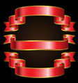 red gold line ribbon set on black background vector image