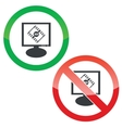3D movie monitor permission signs vector image vector image