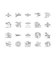 airline line icons signs set outline vector image