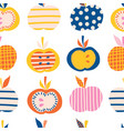 apples seamless pattern cute abstract vector image