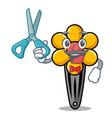 barber hair clip character cartoon vector image