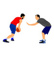 basketball players in duel sport competition vector image vector image