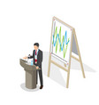 businessman presentation at podium with schedule vector image vector image