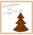 Christmas tree made of coffee beans vector image