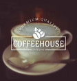coffee house logos on blurred background vector image vector image