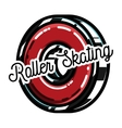 Color vintage roller Skates emblem vector image vector image