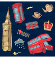 colorful set of hand-drawn London symbols vector image