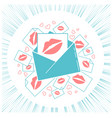 concept of love envelope with kisses vector image vector image