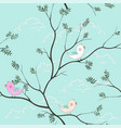 cute birds cartoon seamless pattern on soft blue vector image vector image