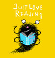 cute reading book monster mascot for kids vector image vector image