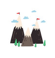 cute scandinavian mountains with small flags vector image