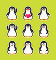 emojis stickers with pinguin character vector image