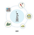 famous american symbols doodle concept vector image vector image