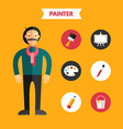 Flat Design of Painter with Icon Set Infographic vector image