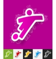 football player paper sticker with hand drawn vector image