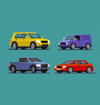 four different cars van pickup sedan suv vector image