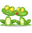 Frog cartoon kissing vector image vector image