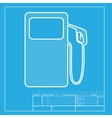 Gas pump sign White section of icon on blueprint vector image vector image