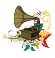 gramophone with floral vector image vector image