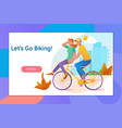 happy young couple going for a bike ride on a vector image vector image