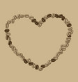heart shaped frame coffee beans vector image vector image