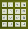 interface icons line style set with magnifier vector image vector image