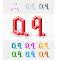 Isometric font from the cubes Letter Q vector image vector image
