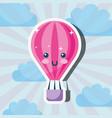 kawaii hot air balloon cartoon weather vector image vector image