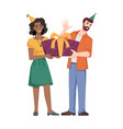 man gives present gift box to woman isolate people vector image