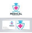 medical education logo design vector image vector image