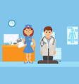 medical staff stands in hospital room vector image