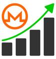 monero growing graph flat icon vector image vector image