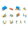 relocation service 3d icons set isometric view vector image