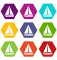 sea yacht icon set color hexahedron vector image vector image