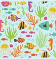 seamless pattern under sea with marine animals vector image
