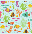 seamless pattern under the sea with marine animals vector image vector image