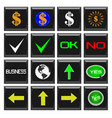 set buttons business symbols and signs vector image
