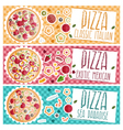 Set of banners for theme pizza with different vector image vector image