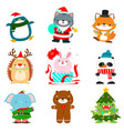 set of cute christmas animal characters vector image