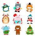 set of cute christmas animal characters vector image
