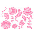 set of lace flowers vintage textile vector image vector image