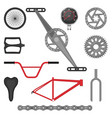 set parts for bmx bike off-road sport bicycle vector image