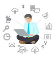 sitting man in eyeglasses with laptop color banner vector image