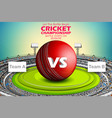 stadium of cricket with ball on pitch and vs vector image vector image