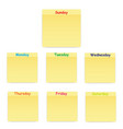 sticky sticker on each day of the week vector image