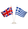 Table stand with flags of Greece and US vector image vector image