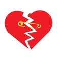 torn heart with safety pin vector image vector image
